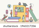a teacher teaches students in a ...   Shutterstock .eps vector #1963217206