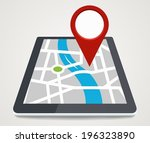 mobile phone with pointer on... | Shutterstock .eps vector #196323890