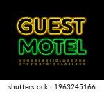 vector neon banner guest motel. ... | Shutterstock .eps vector #1963245166