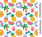 seamless pattern summer. travel ... | Shutterstock .eps vector #1963309696