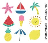 hello summer icons isolated on... | Shutterstock .eps vector #1963309789