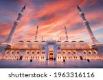 Camlica Mosque At Sunset. The...