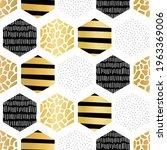golden hexagon seamless vector... | Shutterstock .eps vector #1963369006