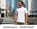 casual dressed man crossing the ... | Shutterstock . vector #1963370629