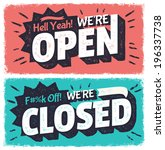 vector open and closed signs | Shutterstock .eps vector #196337738