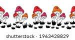 seamless vector border mushroom ... | Shutterstock .eps vector #1963428829