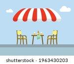 Street Cafe Patio Flat Vector...
