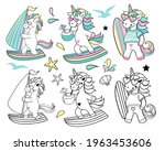 collection of summer unicorns...   Shutterstock .eps vector #1963453606