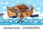 Animals On Noah's Ark Floating...