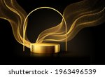minimal black scene with golden ... | Shutterstock .eps vector #1963496539