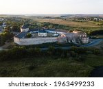Aerial to Medzhybizh Castle, one of the strongest fortres of the Crown of the Kingdom of Poland in Podolia. It is situated at confluence of the Southern Bug rivers, in the town of Medzhybizh Ukraine.