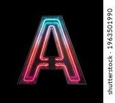 neon light alphabet a with...   Shutterstock . vector #1963501990