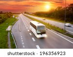 white bus in the rush hour on... | Shutterstock . vector #196356923