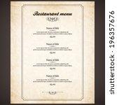 restaurant menu design | Shutterstock .eps vector #196357676