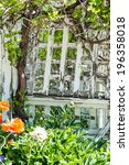 weatered trellis painted white... | Shutterstock . vector #196358018