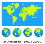 earth globe icons. earth... | Shutterstock .eps vector #1963666999
