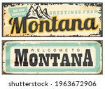 Montana USA retro tin signs. Vintage Montana greeting cards. Vector illustration welcome to Montana.