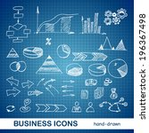 sketched business icons on a... | Shutterstock .eps vector #196367498
