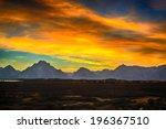 Burning Sky And Grand Teton...