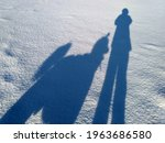 Shadows Of Man And Dog Poodle...
