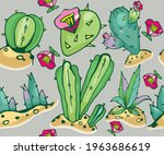 Colorful Cactus Pattern On A...