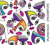 face line art seamless pattern. ... | Shutterstock .eps vector #1963689190