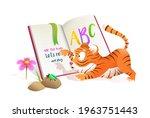 cute little baby tiger reading...   Shutterstock .eps vector #1963751443
