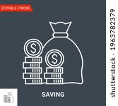 saving icon. thin line vector... | Shutterstock .eps vector #1963782379