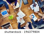group of multiethnic busy... | Shutterstock . vector #196379804