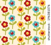 seamless pattern with cute... | Shutterstock . vector #196381076