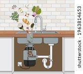 food waste disposer installed...   Shutterstock .eps vector #1963814653