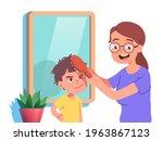 loving mother combing son's...   Shutterstock .eps vector #1963867123