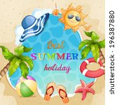 summer beach illustration . | Shutterstock .eps vector #196387880
