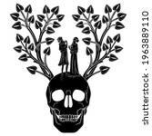 lovers standing in death garden.... | Shutterstock .eps vector #1963889110