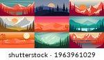 set of cartoon mountain... | Shutterstock .eps vector #1963961029