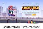 skate park website with boy...   Shutterstock .eps vector #1963964020