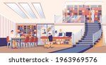 people at library scene....   Shutterstock .eps vector #1963969576