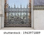 antique wrought iron bars on...   Shutterstock . vector #1963971889