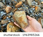 Stone On Hand In Sedimentary...