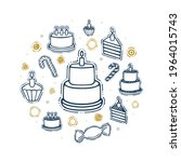 cake with candles doodle... | Shutterstock .eps vector #1964015743
