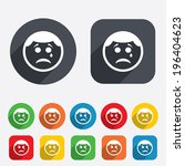 sad face with tear sign icon.... | Shutterstock .eps vector #196404623