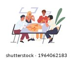 people eating pizza at desk... | Shutterstock .eps vector #1964062183