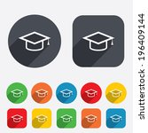 graduation cap sign icon.... | Shutterstock .eps vector #196409144