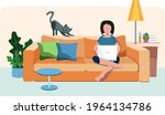 the girl is sitting on the...   Shutterstock .eps vector #1964134786