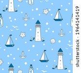 marine seamless vector pattern... | Shutterstock .eps vector #1964141419