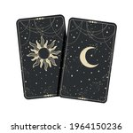 two tarot cards with moon and... | Shutterstock .eps vector #1964150236