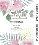 wedding invitation with flowers ... | Shutterstock .eps vector #1964165869