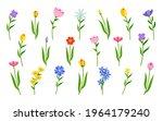 set of flowers on green stem... | Shutterstock .eps vector #1964179240