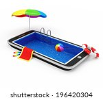Vacation with Mobile Phone Concept. Touchscreen Smart Phone with Swimming Pool and Different Accessories for Vacation isolated on white background - stock photo