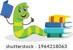 bookworm cartoon vector art and ... | Shutterstock .eps vector #1964218063